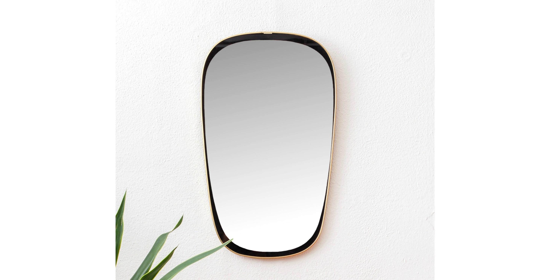 Miroir asym trique dor et noir 1950 vendu room 30 for Miroir petit format