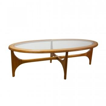 TABLE BASSE OVALE, table basse vintage, table basse en teck, table basse vintage en teck, table basse ovale vintage, grande table basse, grande table basse vintage