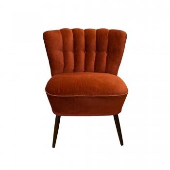 fauteuil 1950, fauteuil rouge vintage, fauteuil cocktail, fauteuil cocktail rouge, fauteuil cocktail vintage, pieds compas, fauteuil pieds compas vintage