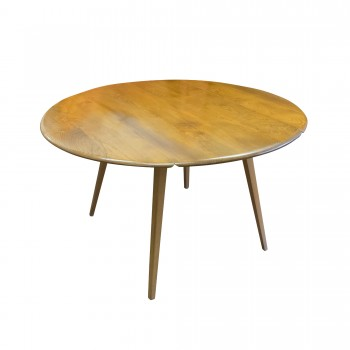 TABLE A MANGER RONDE ERCOL, table ercol, table à manger vintage, table ronde vintage, pieds compas, table pies compas, table pliable, table pliable vintage, table à manger avec rallonges, table à manger ronde avec rallonges, mobilier vintage, Room 30