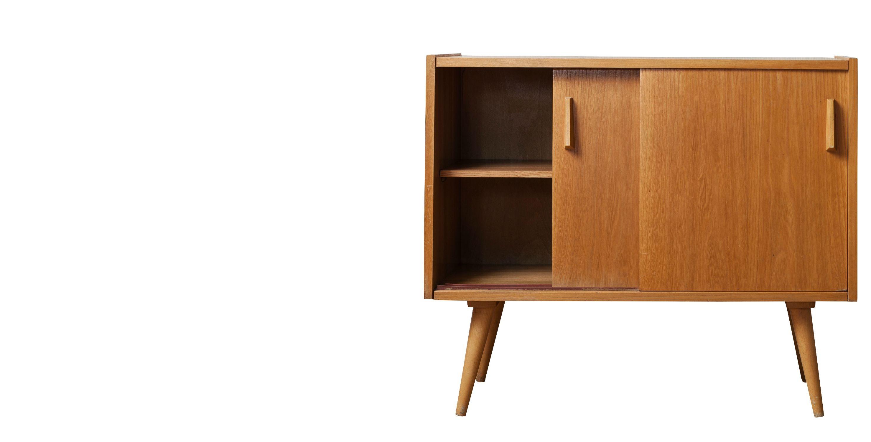 commode bois blond pieds compas 1950 room 30. Black Bedroom Furniture Sets. Home Design Ideas