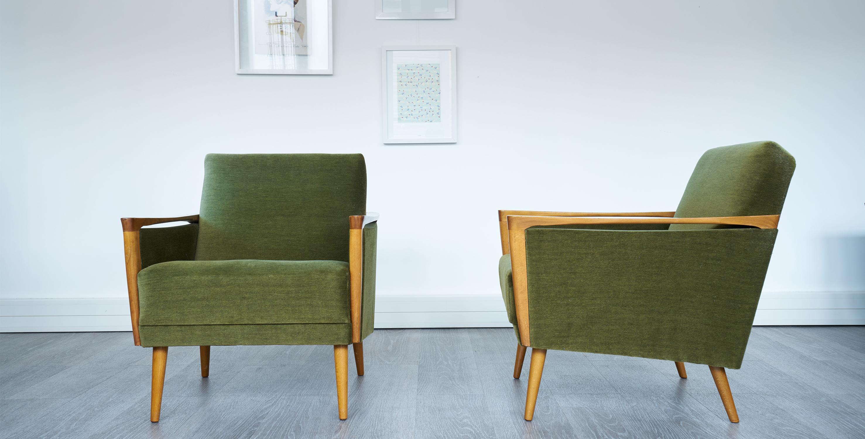 fauteuil velours vert 1950 60 2 disponibles vendus room 30. Black Bedroom Furniture Sets. Home Design Ideas