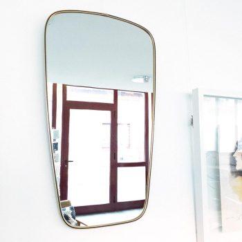 miroir laiton vintage, miroir vintage, miroir dore, miroir dore vintage, miroir rétroviseur, miroir asymetrique