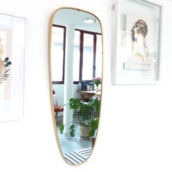 miroir laiton, miroir laiton vintage, miroir vintage, miroir doré vintage, miroir asymétrique vintage,miroir dore rouge