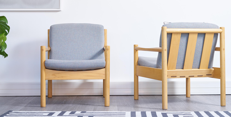 fauteuil ercol vintage, fauteuil bleu vintage, fauteuil scandinave vintage, paire de fauteuils ercol