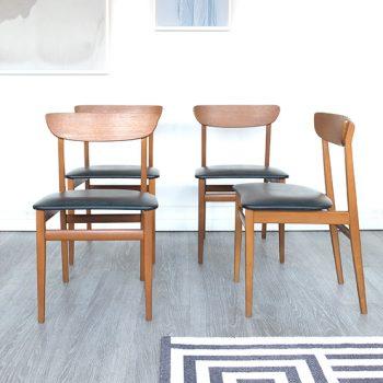4 chaises vintage, chaises scandinaves vintage, chaises danoises, chaises teck, mobilier vintage