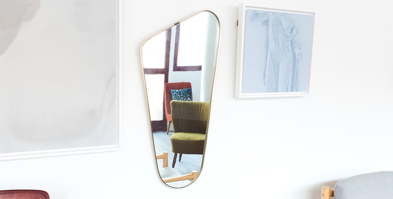 Grand miroir asym trique dor noir laiton 1950 vendu for Retourner une photo miroir