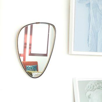 miroir asymetrique vintage, miroir retroviseur vintage, miroir vintage, miroir dore vintage