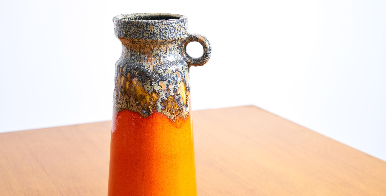 ceramique vintage, ceramique orange vintage, pichet vintage, ceramique allemande vintage, fat lava