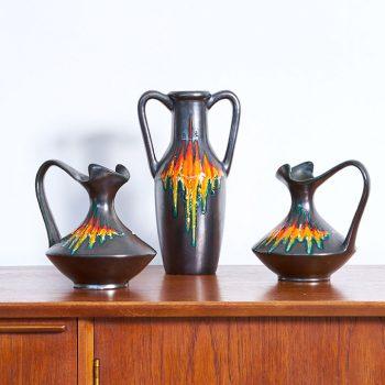 ceramique vintage, ceramique italienne vintage, 3 ceramiques vintage, scandinave, vintage, mobilier vintage paris