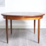 table à manger extensible vintage, table gplan en teck scandinave vintage, table vintage avec rallonge , table ronde vintage, table ronde teck vintage, table ronde bois foncé