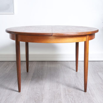 table ronde vintage, rallonge papillon, 121cm