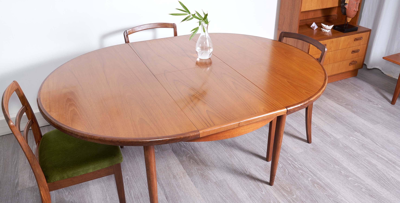 table à manger extensible vintage, table g plan en teck scandinave vintage, table vintage avec rallonge , table ronde vintage, table ronde teck vintage, table ronde bois foncé, room 30