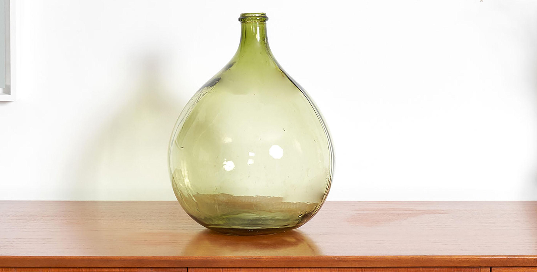 dame jeanne verte, dame jeanne, dame jeanne vintage, dame jeanne tranparente, vase vintage, vase rond vintage, bonbonne vintage