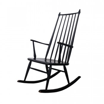 Rocking chair ILMARI TAPIOVAARA, rocking chair vintage, rocking chair à barreaux, rocking chair noir, grnad rocking chair