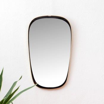 PETIT MIROIR ASYMETRIQUE DORé et nOIR, miroir vintage, miroir asymétrique vintage, room 30