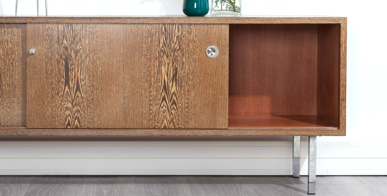 meuble enfilade buffet pieds inox en weng 1960 70 vendu room 30. Black Bedroom Furniture Sets. Home Design Ideas