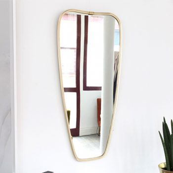 miroir laiton, miroir laiton vintage, miroir vintage, miroir doré vintage, miroir asymétrique vintage,miroir dore