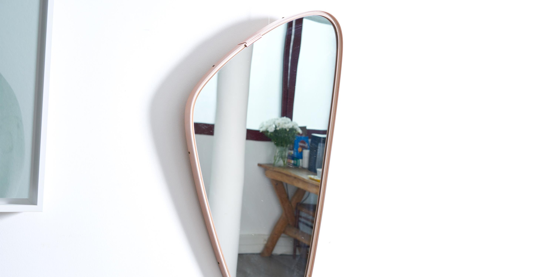 Miroir asymetrique vintage, miroir laiton vintage, miroir vintage, miroir retroviseur vintage, miroir laiton dore vintage
