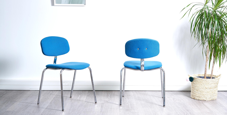 chaise bleu vintage, fauteuil bleu vintage, chaise strafor, chaise bureau vintage, fauteuil bureau vintage, chaise strafor vintage, fauteuil salle d'attente vintage