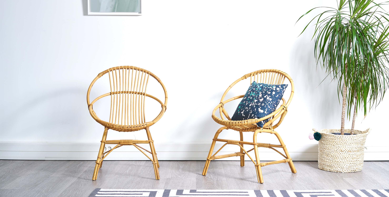 fauteuils rotin vintage, fauteuil coquille rotin vintage, fauteuil coquille, fauteuil rotin, paire de fauteuils rotin