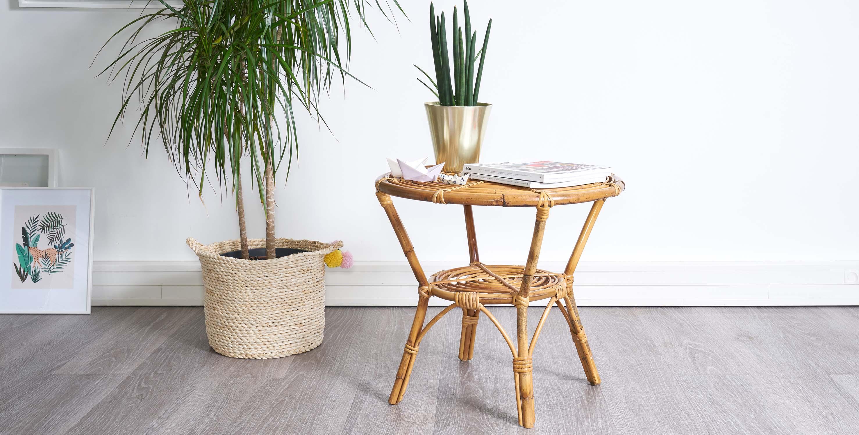 gueridon bambou, table rotin vintage, table bambou vintage, table basse rotin, table basse rotin vintage, rotin vintage, gueridon vintage, gueridon rotin vintage