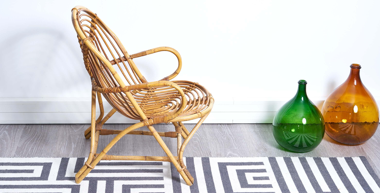 fauteuil rotin vintage, fauteuil rotin, fauteuil vintage, fauteuil bambou vintage, fauteuil coquille vintage, mobilier vintage,dame jeanne vintage, dame jeanne, bonbonne vintage, vase vintage, bonbonne dame jeanne, dame jeanne verte