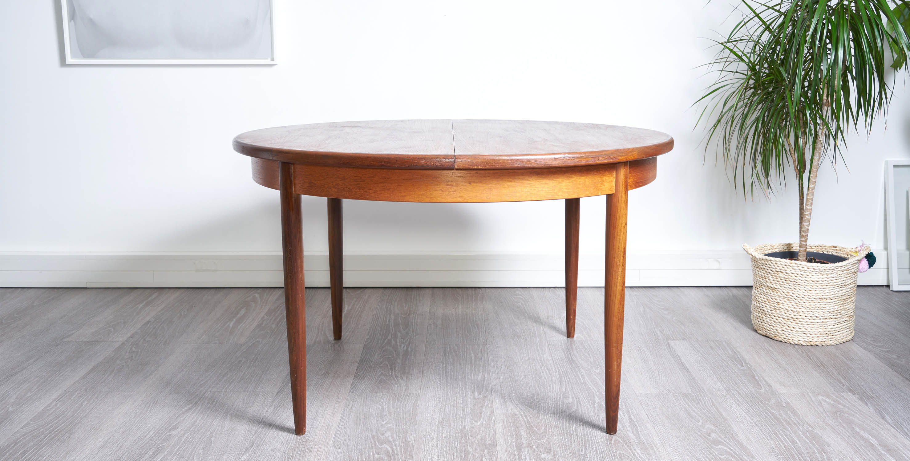 Table Ronde Extensible Scandinave.Table A Manger Ronde Extensible 1960 Style Scandinave