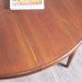 table ronde vintage, rallonge papillon, 121cm