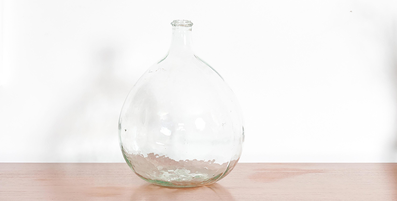 dame jeanne, dame jeanne vintage, dame jeanne tranparente, vase vintage, vase rond vintage, bonbonne vintage