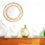 miroir vintage, miroir rotin vintage, miroir rond vintage, miroir bambou vintage, miroir leger vintage, dame jeanne, vase vintage