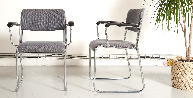 paire de chaises vintage, paire de chaises de bureau vintage, 2 chaises tubulaires, chaises tubulaires vintage, chaise tubulaire vintage, chaise acier chromé vintage, chaise bleue vintage, chaise brunner, chaise brunner vintage