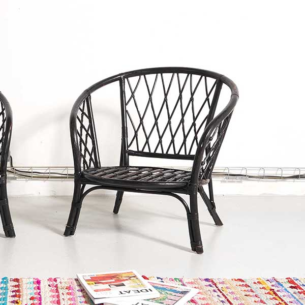 fauteuil rotin vintage, fauteuil rotin noir, fauteuil cannage, fauteuil vintage, fauteuil coquille, fauteuil bambou vintage, enfilade vintage, room 30