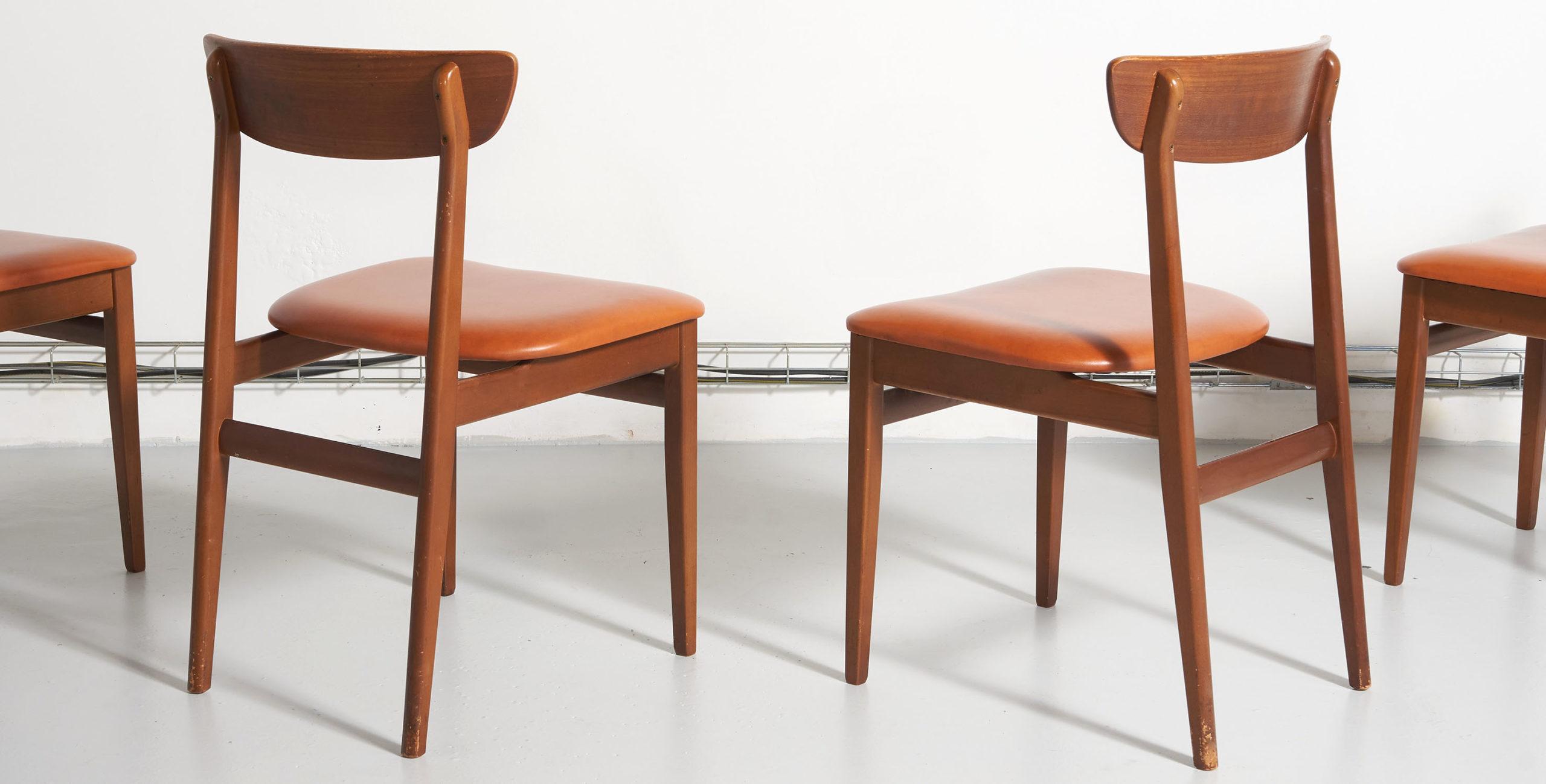 chaises vintage, chaises en teck, chaises en teck vintage, chaises scandinaves, chaises scandinaves en teck, 4 chaises vintage, 4 chaises scandinaves