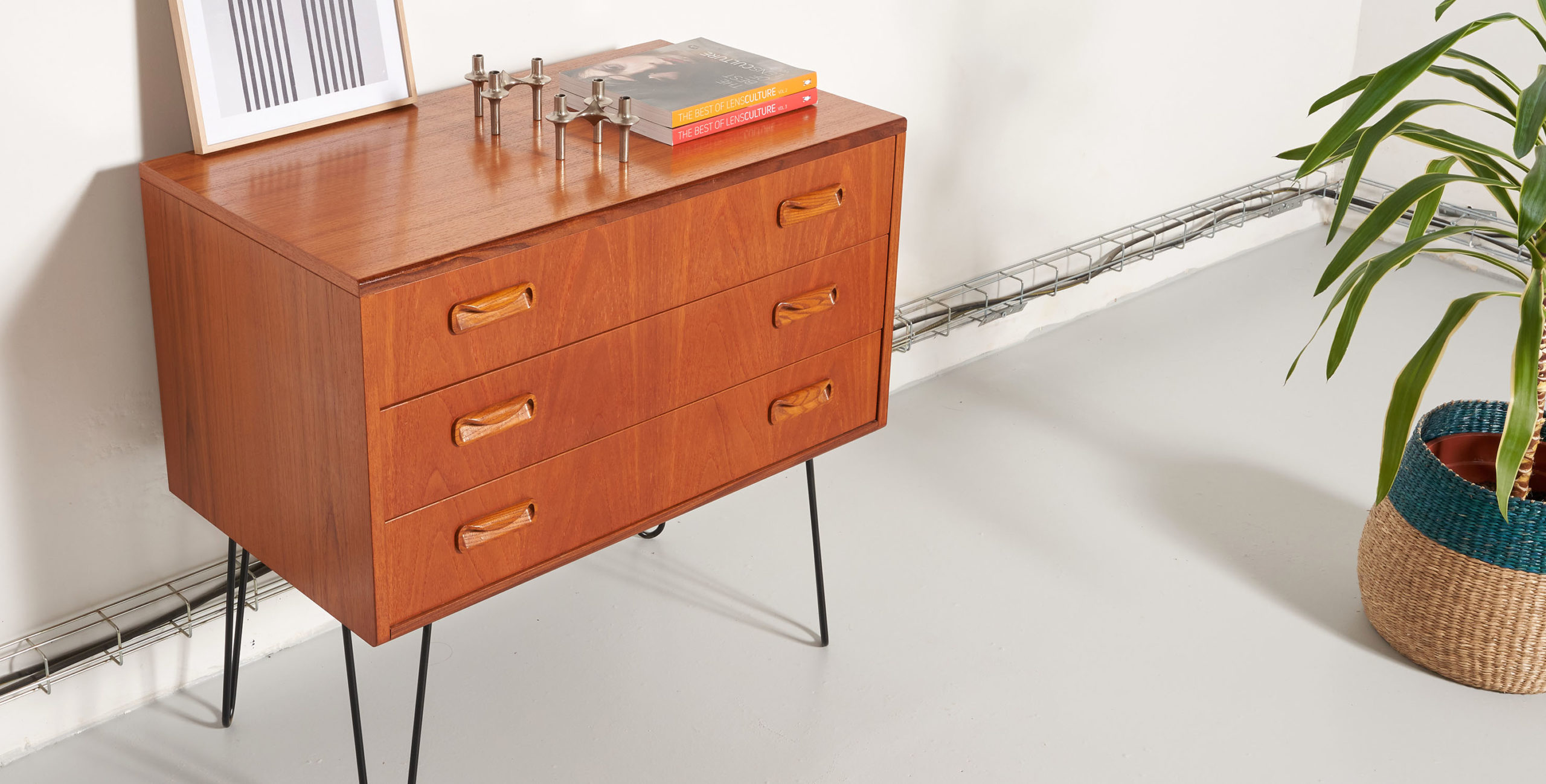 commode scandinave, commode vintage, commode 3 tiroirs vintage, commode teck, commode en teck vintage, commode g plan, commode hairpin legs, commode pieds metal